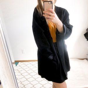 Zara Black Suede Coat Blazer w/ Pockets Size Small